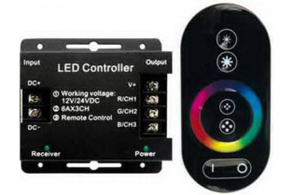 контроллер RGB 18А 216Вт 12V сенсорный черн. пульт
