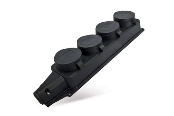 Колодка 4-м однофазная с заглушками (каучук) UNIVersal 1029