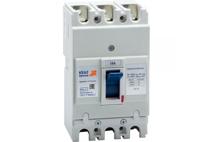 Выключатель автоматический 16А 6кА OptiMat E100L016 УХЛ3 КЭАЗ 100000
