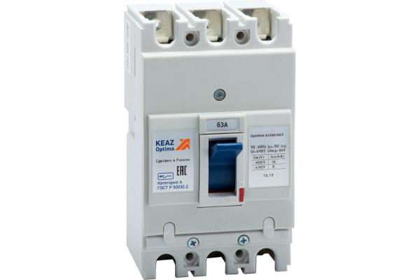 Выключатель автоматический 3п 63А OptiMat E100L063 УХЛ3 КЭАЗ 100006