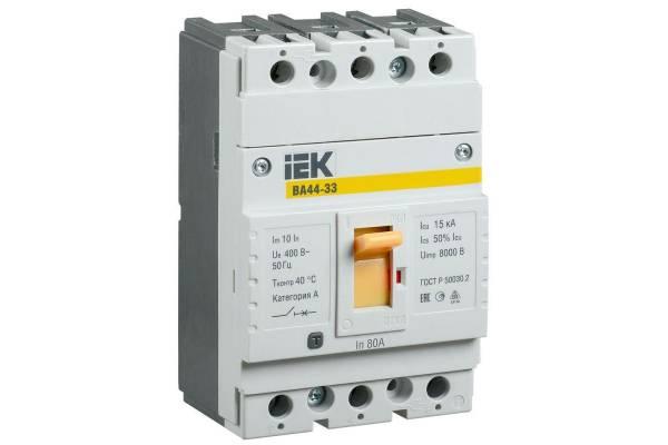 Выключатель автоматический 3п 80А 15кА ВА44 33 IEK SVA4410-3-0080