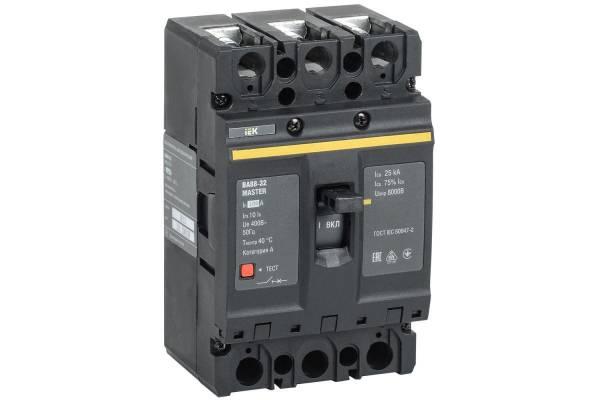 Выключатель автоматический 3п 100А 25кА ВА88-32 MASTER ИЭК SVA10-3-0100-02