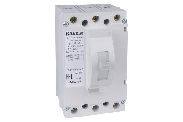 Выключатель автоматический 100А 1200Im ВА57-31-340010 УХЛ3 690В AC КЭАЗ 108427