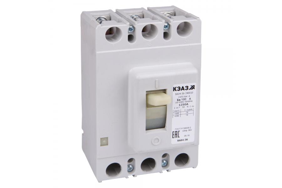 Выключатель автоматический 100А 1250Im ВА04-36-340010 УХЛ3 690В AC КЭАЗ 107540