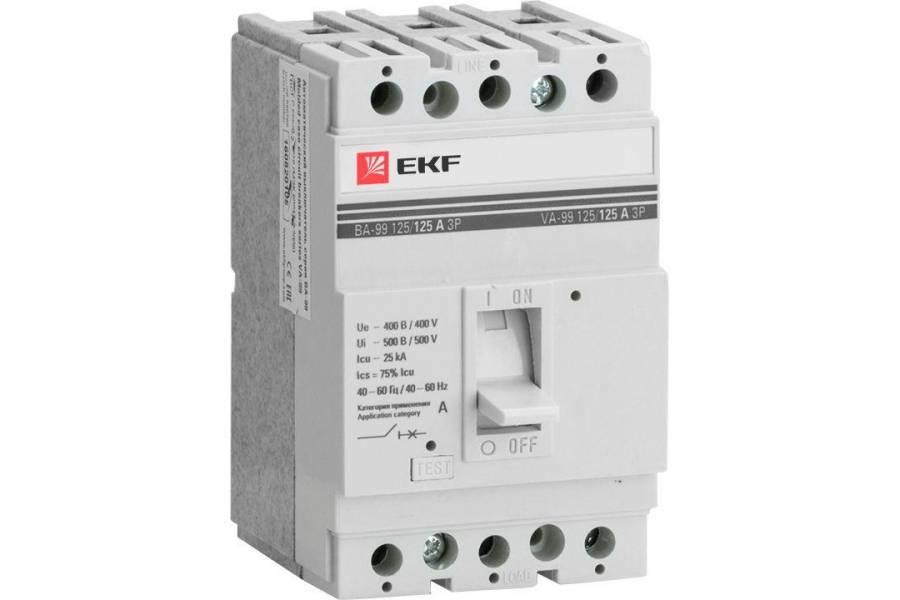 Выключатель автоматический 3п 125/25А 25кА ВА-99 PROxima EKF mccb99-125-25