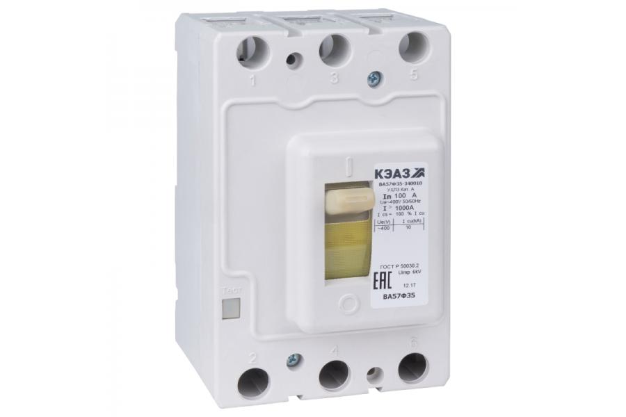 Выключатель автоматический 100А 1000Im ВА57Ф35-340010 УХЛ3 400В AC КЭАЗ 109286