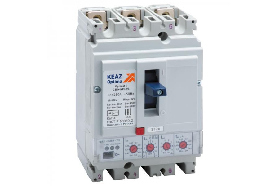 Выключатель автоматический 250А 40кА OptiMat D250N MR1 У3 КЭАЗ 137335