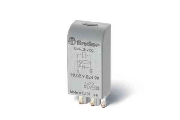 Модуль индикации и защиты LED + диод ( + A1) 6...24В DC зел. FINDER 9902902499