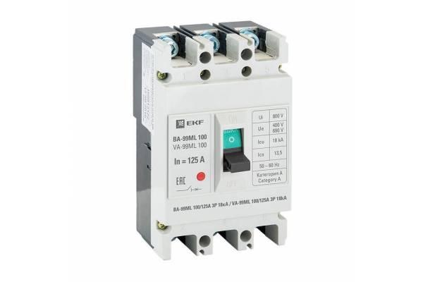 Выключатель автоматический 3п 100/125А 18кА ВА-99МL Basic EKF mccb99-100-125mi
