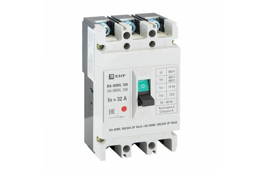 Выключатель авт. 3п ВА-99МL 100/32А 18кА Basic EKF mccb99-100-32mi