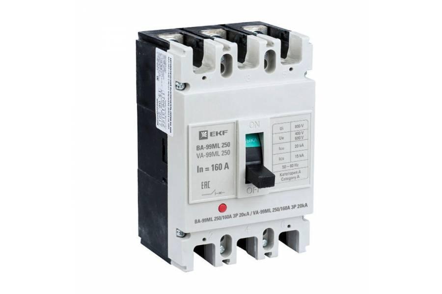 Выключатель автоматический 3п 250/160А 20кА ВА-99МL Basic EKF mccb99-250-160mi
