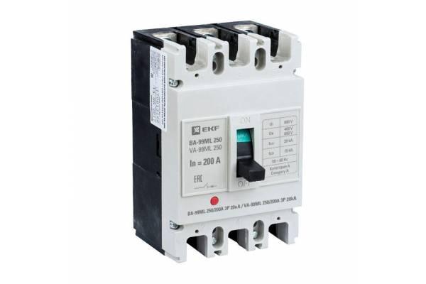 Выключатель автоматический 3п 250/200А 20кА ВА-99МL Basic EKF mccb99-250-200mi