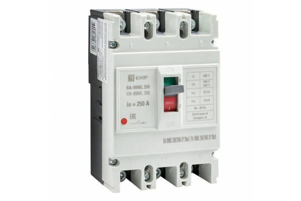 Выключатель автоматический 3п 250/250А 20кА ВА-99МL Basic EKF mccb99-250-250mi