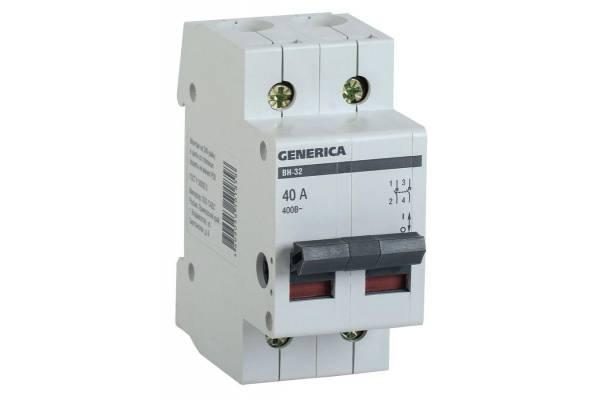 Выключатель нагрузки (мини-рубильник) 2п ВН-32 40А GENERICA IEK MNV15-2-040