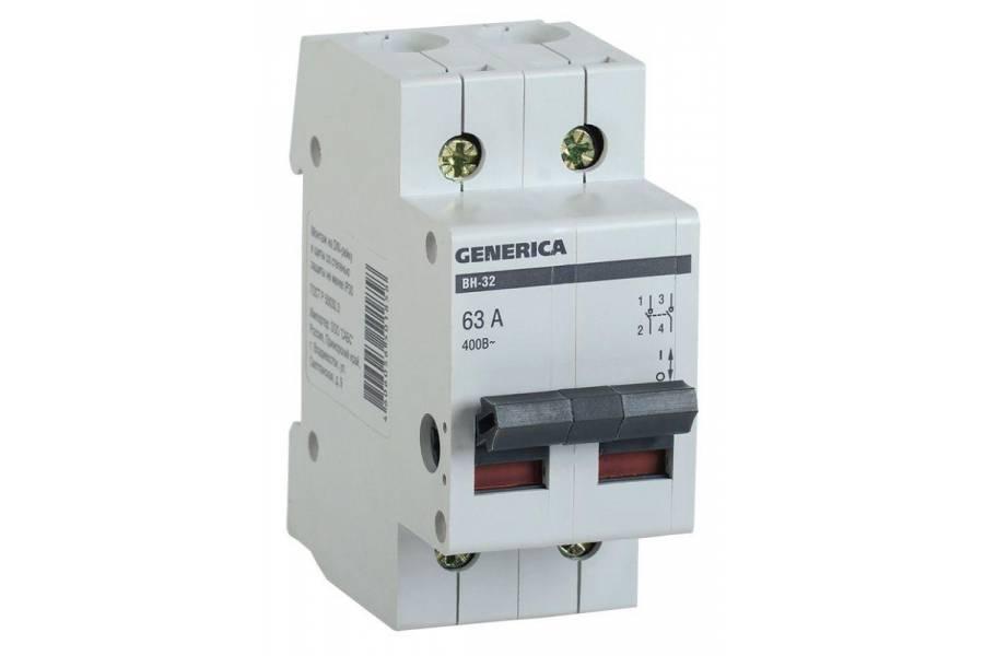 Выключатель нагрузки (мини-рубильник) 2п ВН-32 63А GENERICA IEK MNV15-2-063