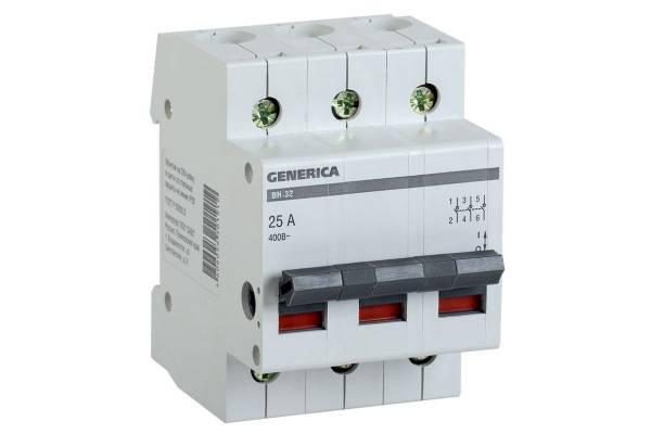 Выключатель нагрузки (мини-рубильник) 3п ВН-32 25А GENERICA ИЭК MNV15-3-025