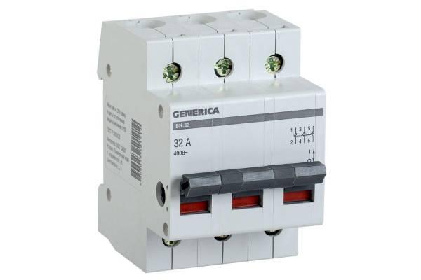 Выключатель нагрузки (мини-рубильник) 3п ВН-32 32А GENERICA ИЭК MNV15-3-032