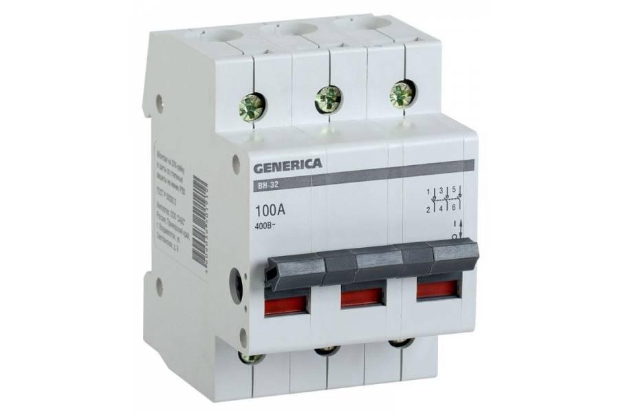 Выключатель нагрузки (мини-рубильник) 3п ВН-32 100А GENERICA ИЭК MNV15-3-100