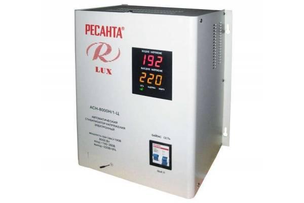 Стабилизатор напряжения АСН-8000Н/1-Ц 1ф 8кВт IP20 релейный Ресанта 63/6/17