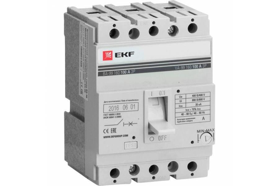 Выключатель автоматический 3п 160/160А 35кА ВА-99 PROxima EKF mccb99-160-160