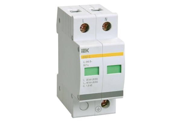 Ограничитель перенапряжения ОПС1-C 2P IEK MOP20-2-C