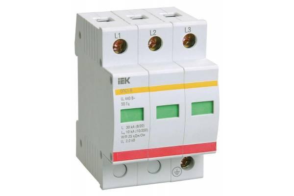 Ограничитель перенапряжения ОПС1-B 3P IEK MOP20-3-B