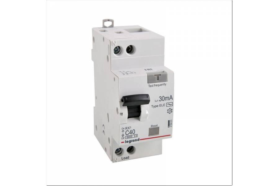 Выключатель автоматический дифференциального тока 1п (1P+N) C 40А 30мА тип AC 6кА RX3 Leg 419403