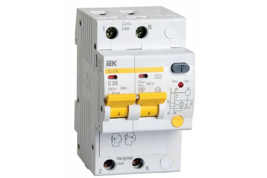 Выключатель автоматический дифференциального тока 2п C 25А 30мА тип A 4.5кА АД-12М IEK MAD12-2-025-C-030