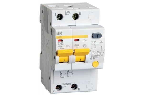 Выключатель автоматический дифференциального тока 2п C 63А 30мА тип AC 4.5кА АД-12 IEK MAD10-2-063-C-030