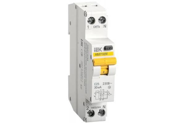 Выключатель автоматический дифференциального тока 1п C 25А 30мА тип A 4.5кА АВДТ-32М IEK MAD32-5-025-C-30