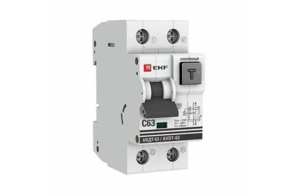 Выключатель автоматический дифференциального тока 1P+N 2мод. С 63А 100мА тип А 6кА АВДТ-63 (электрон.) PROxima EKF DA63-63-100e