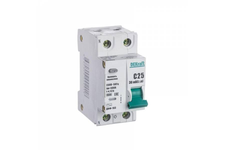 Выключатель авт. диф. тока 1Р+N 25А 30мА AC х-ка С ДИФ-103 4.5кА со вст. защ. от сверхтоков SchE 16015DEK