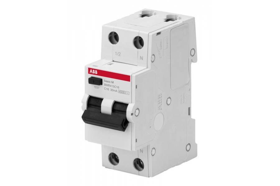 Выключатель авт. диф. тока 2п С 16А 30мА 4.5кА тип AC Basic M BMR415C16 ABB 2CSR645041R1164