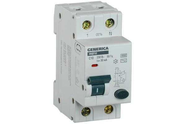 Выключатель автоматический диф. тока C10 30мА АВДТ 32 GENERICA IEK MAD25-5-010-C-30