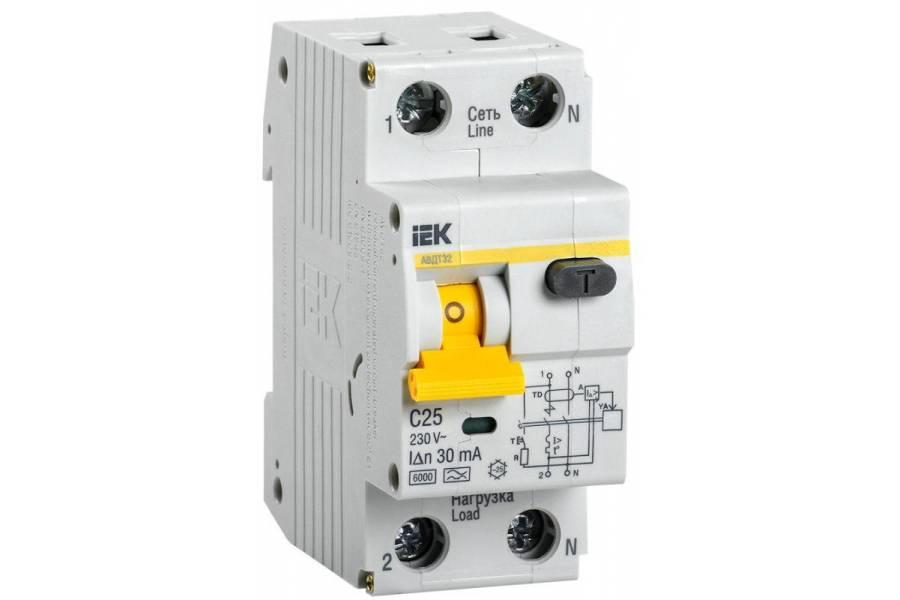 Выключатель автоматический дифференциального тока 2п (1P+N) C 25А 30мА тип A 6кА АВДТ-32 IEK MAD22-5-025-C-30